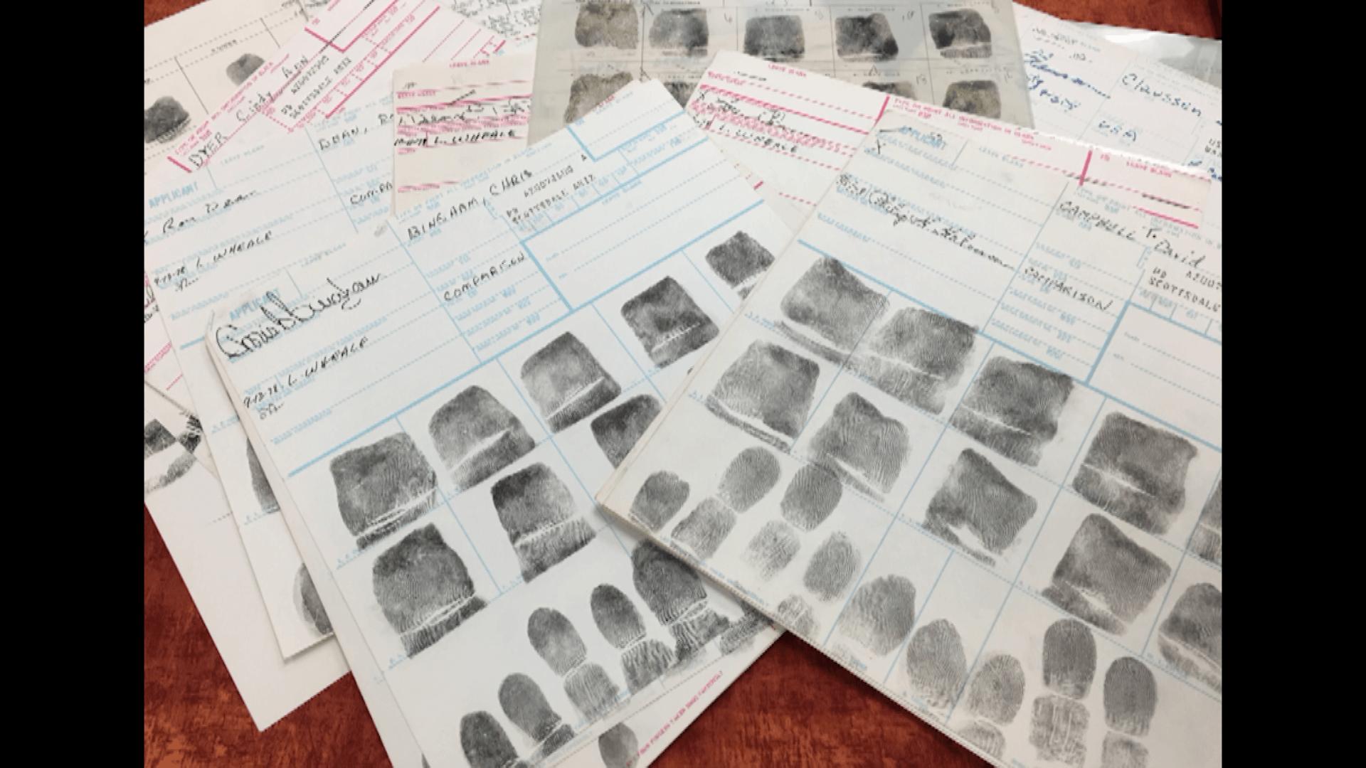 Fingerprints from the crime scene.
