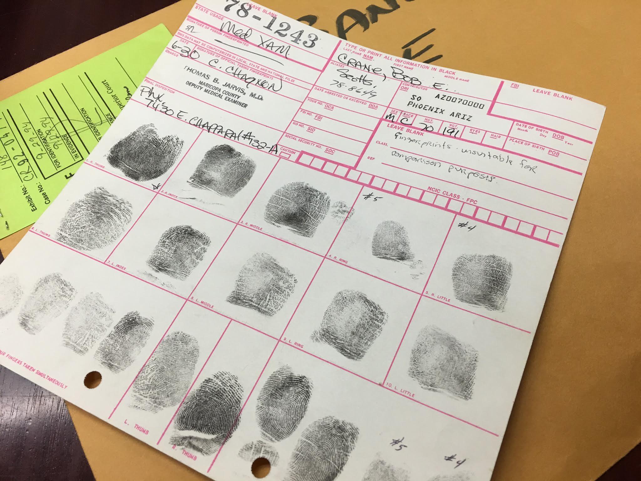 Bob Crane's finger prints