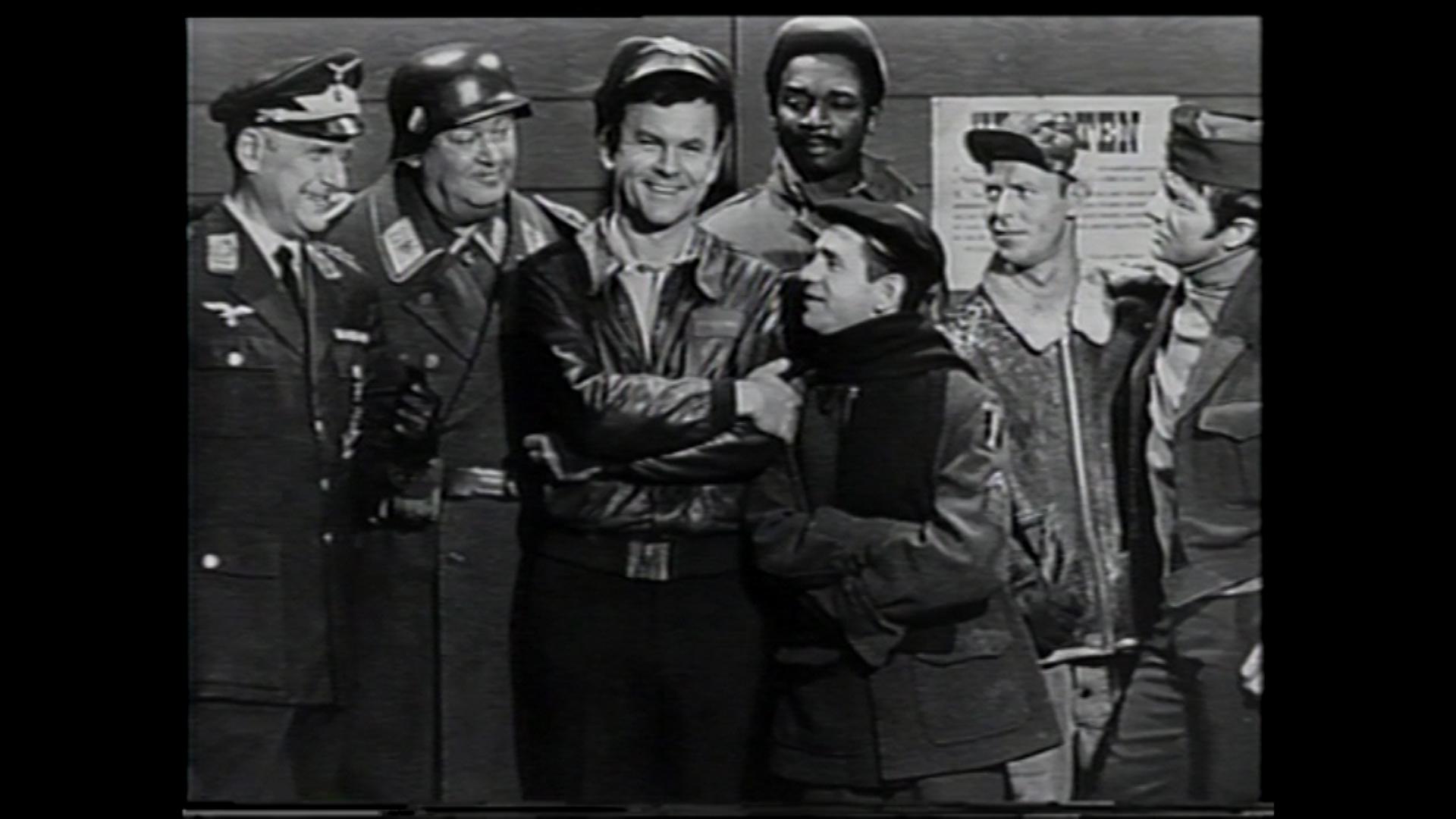 Bob Crane with the cast of Hogan's Heroes.