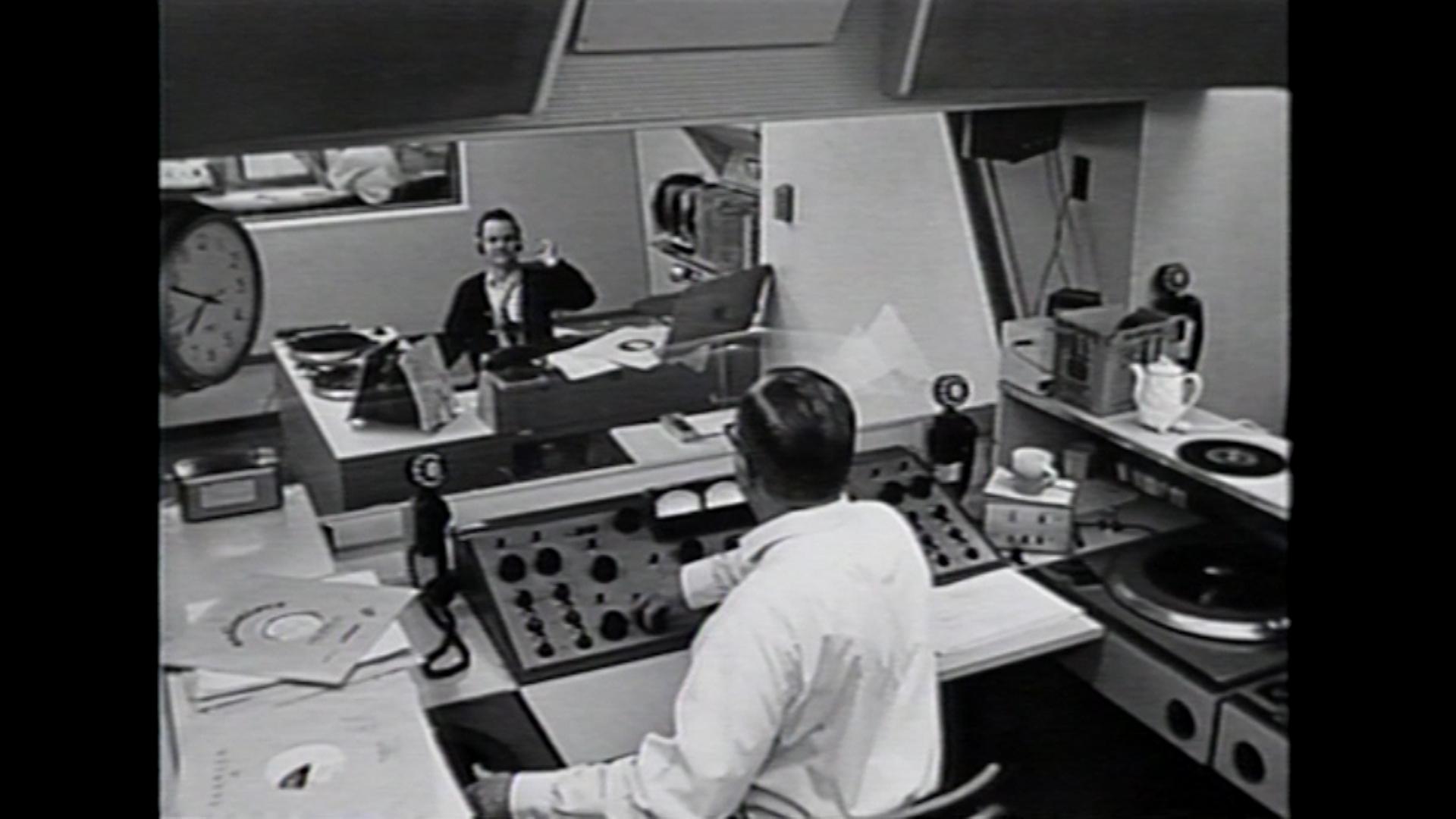 Bob Crane working in a Radio Station.